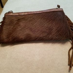 Montana West Brown Fringe Leather Clutch/Crossbody